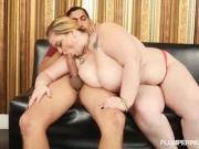 Big Tit Plump Art Dealer Holds and Fucks Huge Latino Cock