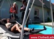 Pool side lesbian threesome with classy babes eating pussy
