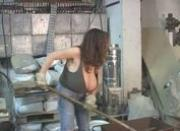Milena Velba squirts milk on car window.