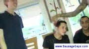 Male stripper shoots sperm on a guys face