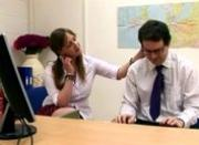 Office girls strip the office geek and wank him in CFNM scene
