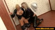 Bukkake on two clothed blondes