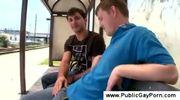 Public gay blowjob at the railroad station