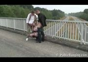 Public sex threesome with a pregnant woman