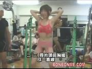 girl gives blowjob to coach after nude sport in GYM