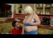 Chubby Teen With Big Boobs N Belly Sucks Huge Cock