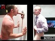 Teen gay mouth fucks cock on gloryhole