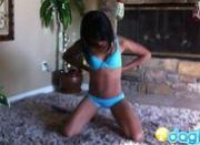 Gorgeous ebony Amber on the floor masturbating