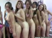 College ladies kissing naked on hallway