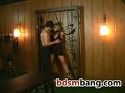 Obidient slut in bondage obeys her sex master