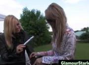 Horny glamorous lesbians get dirty