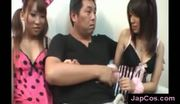 2 shy Japanese bunny girls pleasing a guy