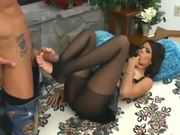 Shy Love footjob and anal sex in pantyhose