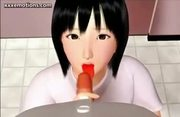Teen animated cutie doing blowjob