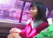Hot asian babe in car having fun