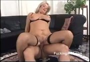 Lucky guy spoons blonde granny in pantyhoes on the floor