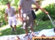 Gay freshmen are wrestling outdoors