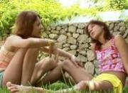 Girly love and pussy smoke in the grass
