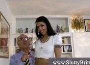 Horny girl with clit piercing masturbates
