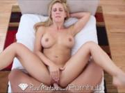 Pure Mature Blonde MILF sucks guy's toes, gets fucked