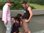 Busty teen girl PUBLIC street gangbang with 2 guys with big dicks