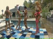 Four Oiled Girls In A Poolside Fuckfest