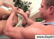 Gay giving blwjob to his handsome masseur
