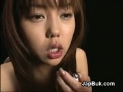 Japanese bukkake girl swallows cum