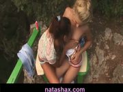 Natasha Shy and lesbian teen girlfriend masturbating