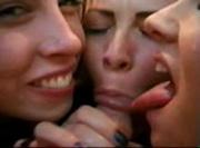 3 girls sucking cock