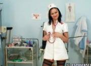 Sexy nurse Pavlina put a medical instrument up her pussy
