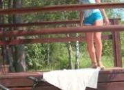 Gorgeous teen teasing naked outside