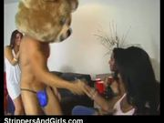 Facial on girl after sucking male stripper