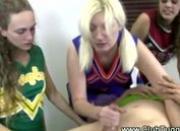 Naughty cheerleader wanking off guy