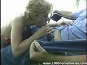 amateur Milf giving blowjob outdoors