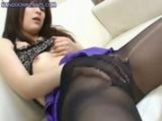 Slutty Asian Masturbating in Nylons