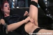 EMO Amazing Redhead Goth Girl Making Herself Cum!