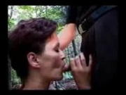 Matured mom gives blowjob in the forest!