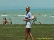 Piss Crazy pee girl on the beach