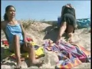 Piss: Young and mature lesbians peeing at the beach
