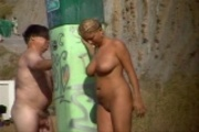 CLIP BUSTY NUDIST WIFE SPIED SHOWERING