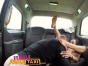 Female Fake Taxi Petite ebony cabbie with tiny shaven pussy fucks passenger