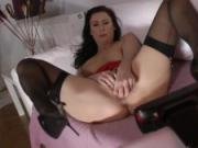 Classy british milf teases while in stockings
