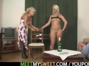 Mature couple and teen have fun