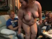 Fat chick strip and give head in the bbw bar