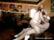 Fat couple fucking on the couch