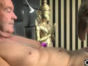 Her Young Pussy Gets Fucked By Old Man and Gets Cum On Tits Old Young Porn