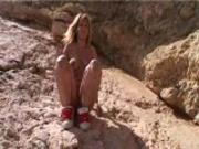 Jenny climbs the rocks-gets naked