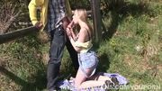 Cute young girl getting fucked outdoors