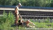 Public RAILWAY Threesome sex PART 2
